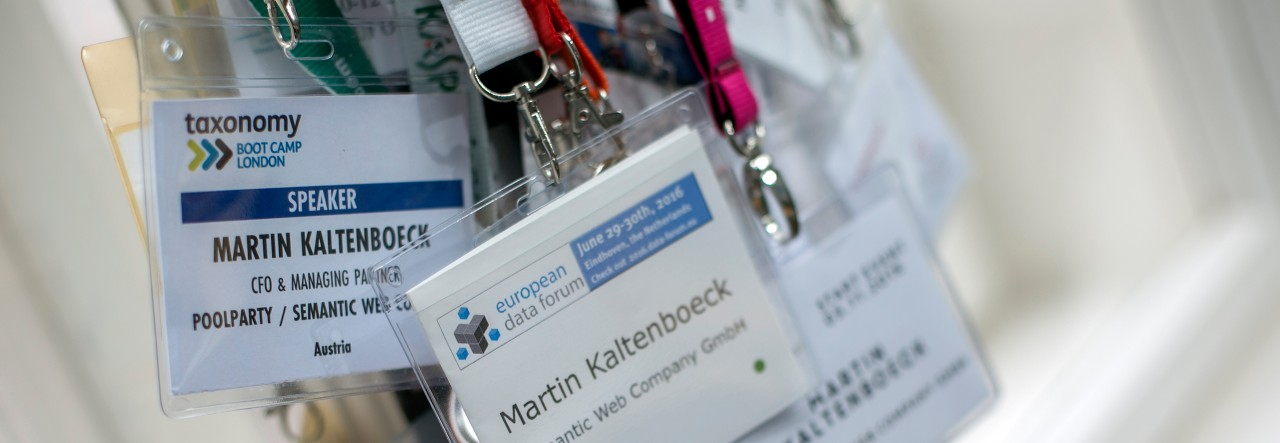 conference badges on strings
