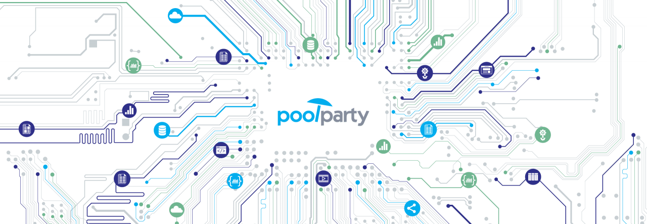 PoolParty logo and diagram of linked data in a network